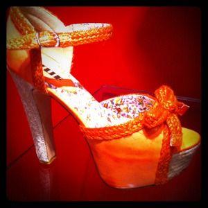 Orange platform heel (also in black shown)