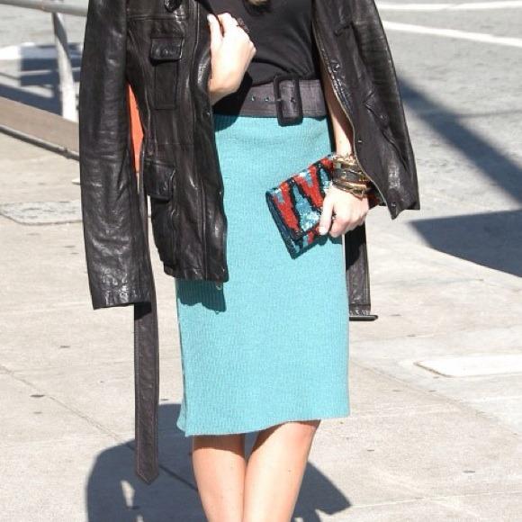 Mint knit pencil skirt
