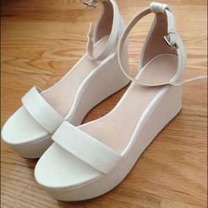 joe fresh Shoes - White leather platform wedge sandals