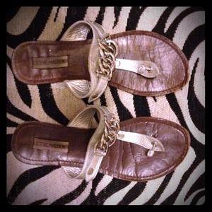 Silver chain Steve Madden thong sandals