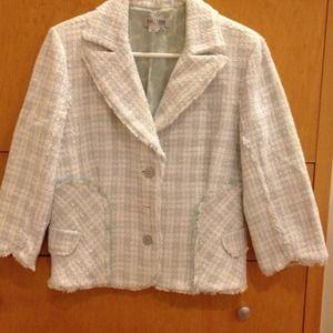 Kay Unger basket weave tweed suit