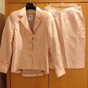 Pink silk floral suit
