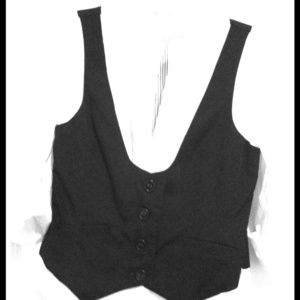 Tops - White shirt/black vest