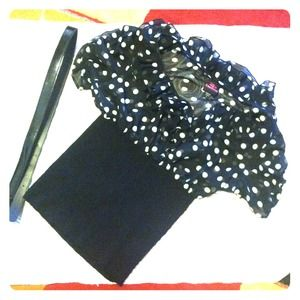bebe Tops - BEBE ruffles polkadot top with belt!
