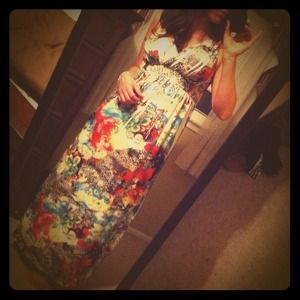 Dresses & Skirts - White floral and leopard print maxi dress