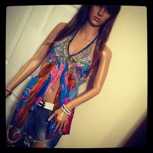 Tops - Colorful flowy beaded halter top
