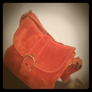 **Reduced** Coach suede rust/orange shoulder bag