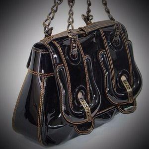 FENDI  B  Black Patent Leather Bag