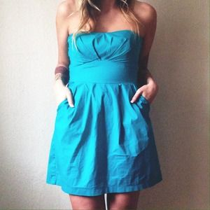 Trixxi Dresses & Skirts - Turquoise Strapless Dress