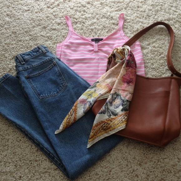 c'est city Tops - Knit pink & white tank top (work appropriate!)