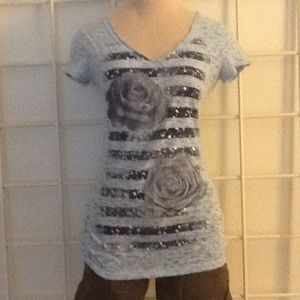 Tops - Bundle 1 Reduced $5. Burnout light blue t-shirt