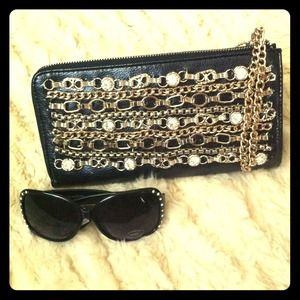 Clutches & Wallets - Studded Chain Clutch Wrislet