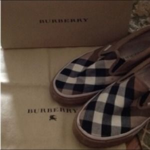 Authentic Burberry slip on canvas shoes
