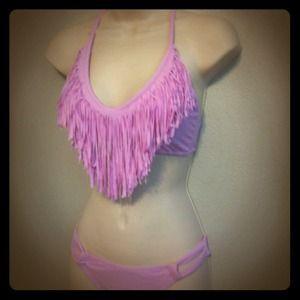 Lavender Fringe Halter Bikini