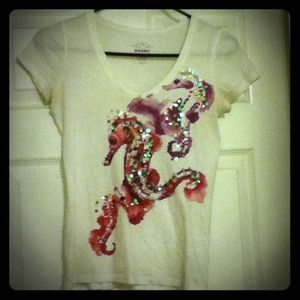 Old Navy Tops - Watercolor Sea Horse V-Neck
