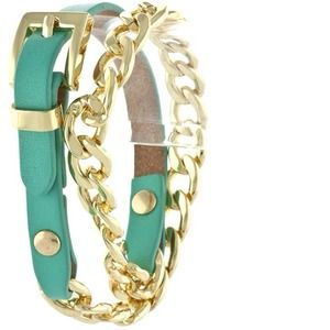 112629 Jewelry - Half Chain & Half Leather Bracelet