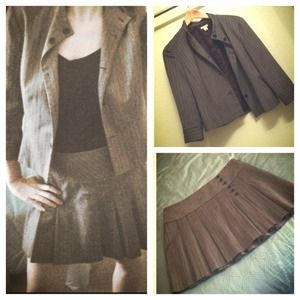 Halogen Dresses & Skirts - brown pinstripe skirt suit