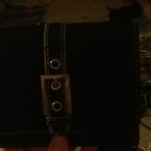 Black zipper and buckle wallet