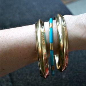 Gold and turquoise bracelets (3)