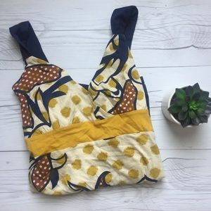 Tops - Wet Seal Navy and Mustard Floral Tank