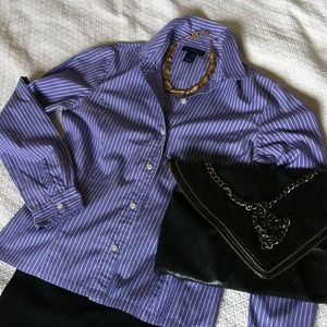 Ann Taylor Tops - REDUCED! Ann Taylor Purple Striped Button Up