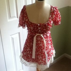 Vintage Strawberry & Lace sheer top