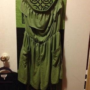 Aviva  Dresses & Skirts - Green Strapless Romper