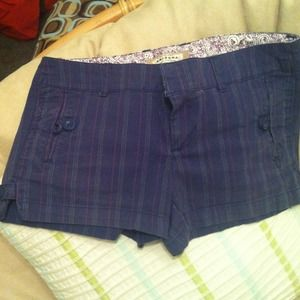 Pants - Dark purple/blue pinstripe shorts