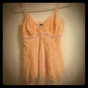 Tops - Pastel Peach laced spaghetti strap v neck shirt