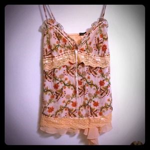 Tops - Pastel Peach v neck laced chiffon shirt