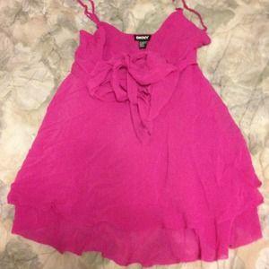 DKNY Hot pink chiffon spaghetti strap v neck shirt