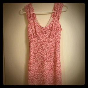 Dresses & Skirts - Floral print pastel pink midi chiffon tank dress