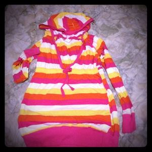 Tops - Long sleeve bright striped hooded v neck shirt