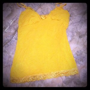 Tops - Yellow polka dot v neck shirt with lace