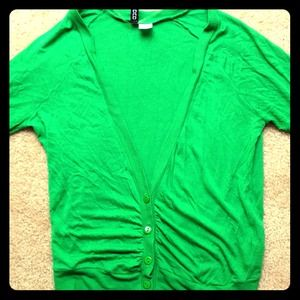 H&M Tops - H&M Divided Bright Green Cardigan Short Sleeved
