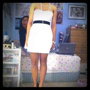 White prom dress with black sash