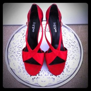Red Sateen Heels
