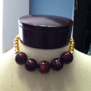 Purple and gold ball necklace