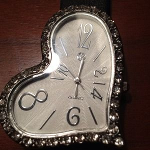 heart shaped watch and lock necklace