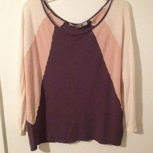 Forever 21 Tops - Knit gray/peach/cream top
