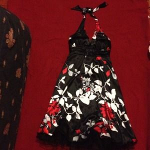 Dresses & Skirts - NWOT  Black, red, white, & gray party dress.
