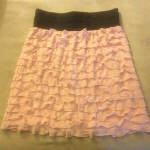 Ruffle pink skirt w banded waist