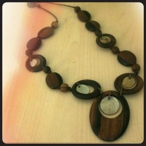 Wooden, boho style chunky necklace