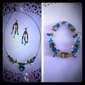 Necklace, bracelet, and earring set