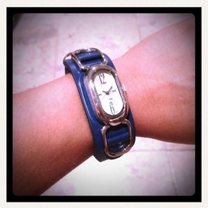 New Blue & white leather watch