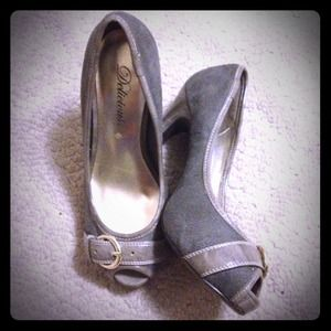 Shoes - Gray peep toe high heels pumps w/ buckle embellish