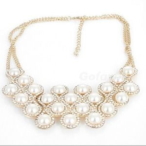 Rhinestoned Pearl Statement Necklace