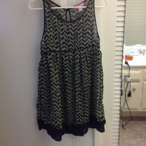 Green and navy dress