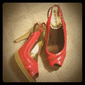 Shoes - Red sling back peep toe high heels