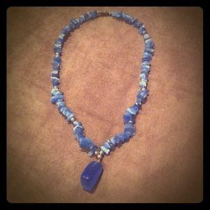 Blue rock necklace